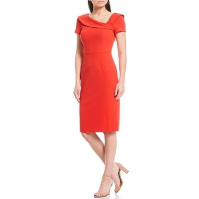 ハーパーローズ レディース ワンピース トップス Scuba Crepe Asymmetrical Neck Short Sleeve Sheath Dress Red