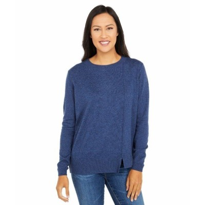 エリオットローレン ニット&セーター アウター レディース Cotton Cashmere Asymmetrical Crew Neck Sweater Denim