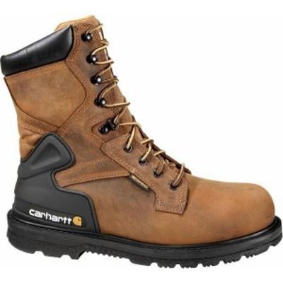 """カーハート メンズ ブーツ・レインブーツ シューズ Carhartt Men's Bison 8"""" Steel Toe Waterproof Work Boots Bison Brown Oil Tanned"""