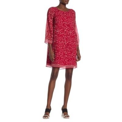 マックスタジオ レディース ワンピース トップス Printed Pleated Dress RED/CORAL WISPY FLORAL STEM