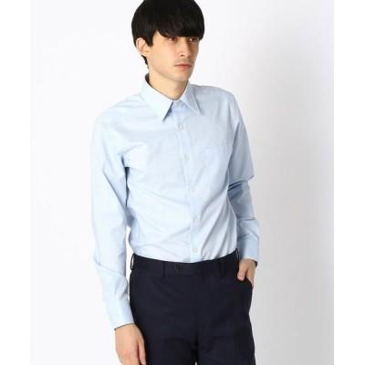 COMME CA ISM/コムサイズム 《イージーケア・抗菌防臭加工》 市松柄 レギュラーカラーシャツ サックス L