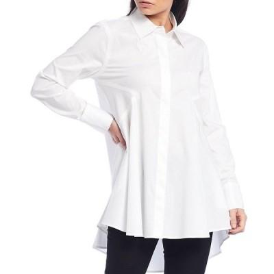 ダナキャラン レディース カットソー トップス New York Iconic Signature Hi-Low Button Front Shirt White
