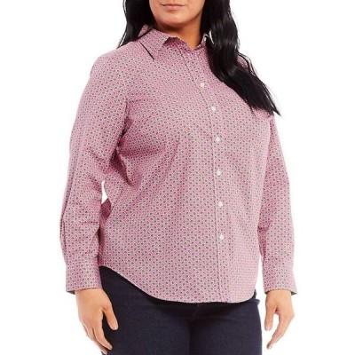 ラルフローレン レディース シャツ トップス Plus Size Easy Care Leaf Print Long Sleeve Cotton-Blend Shirt