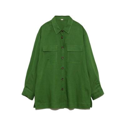 ミラオーウェン Mila Owen セットアップカバーオールシャツ (グリーン)