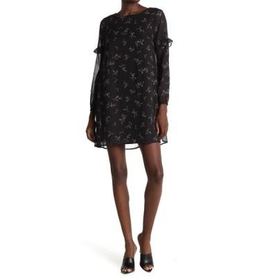 ビービーダコタ レディース ワンピース トップス Swingin Ruffle Sleeve Floral Shift Dress BLACK