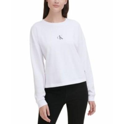 カルバンクライン レディース シャツ トップス Logo Long-Sleeve T-Shirt White