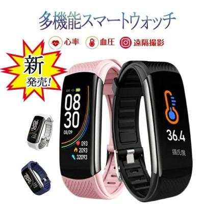 即納『送料無料』【スマートウォッチ】新型 iPhone Android 防水 USB充電 IP67防水 日本語 遠隔撮影 目覚まし時計 静音 体温測定 天気予報 GPS記録