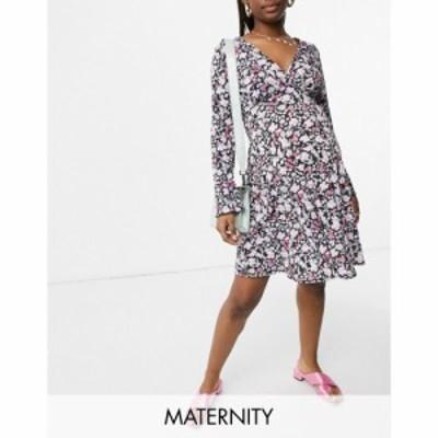 ブルーム Blume Maternity レディース ワンピース ラップドレス ワンピース・ドレス Jersey Wrap Dress In Black Floral Print フローラ