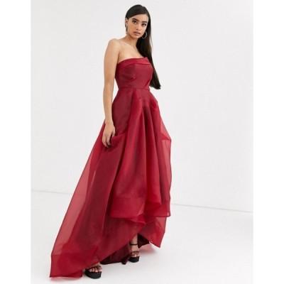 バリアーノ レディース ワンピース トップス Bariano full maxi dress with organza bust detail in wine red