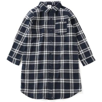 (devirock/デビロック)ネルチェックシャツ長袖ワンピース/ ネイビー系2