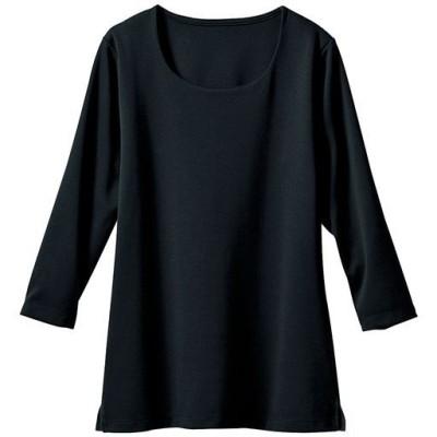 透けにくいクルーネックプルオーバー(7分袖)(洗濯機OK)/ブラック/M