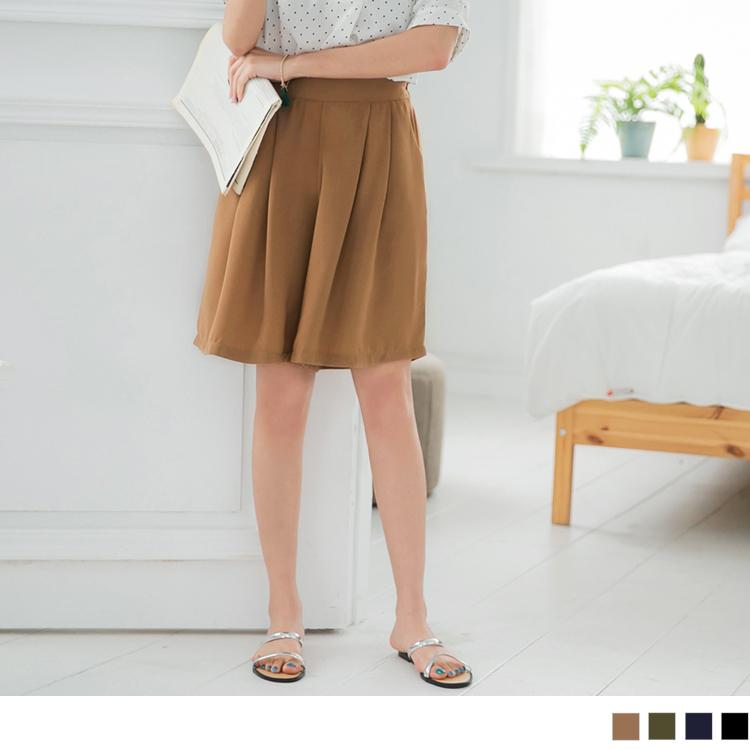純色質感雪紡打褶後腰鬆緊寬褲裙