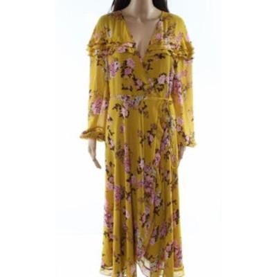 Wayf ウェイフ ファッション ドレス WAYF NEW Yellow Womens Size Small S Flral-Print Ruffled Wrap Dress