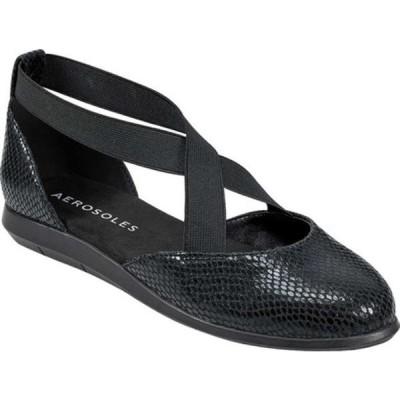 エアロソールズ サンダル シューズ レディース Bedford Flat (Women's) Black Snake Synthetic Leather