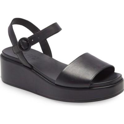 カンペール CAMPER レディース サンダル・ミュール ウェッジソール シューズ・靴 Misia Platform Wedge Sandal New Black Leather