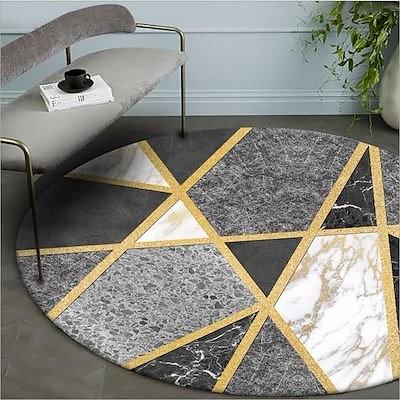 選べる7サイズ/選べる6柄北欧の小三角滑り止め付 丸型 ヨーロピアンスタイルのリビングルームのカーペットのリビングルームの寝室 洗える 円形 ラグマット カーペット