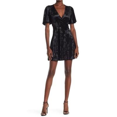 ベルベットトーチ レディース ワンピース トップス Ruffle Sleeve Surplice Neck Velvet Dress BLACK