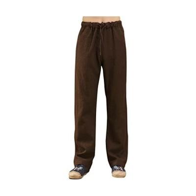 メンズ ワイドパンツ リネン ストレート 麻 ゆったり 民族風 個性的 カジュアルズボン スラックス ファション 純色 多彩 (ブラウン M)