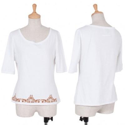 【SALE】ジャンポールゴルチエファムJean Paul GAULTIER FEMME 裾トライバルプリントTシャツ 白茶40 【レディース】