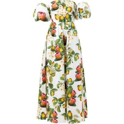 ノア ド ボルゴ Borgo De Nor レディース パーティードレス ワンピース・ドレス Juliet off-the-shoulder lemon-print cotton dress White