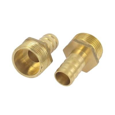 uxcell パイプ継手 ホースバーブアダプター 真鍮材質 空気圧パイプ 空気燃料ガス バーブフィッティング 2個入り