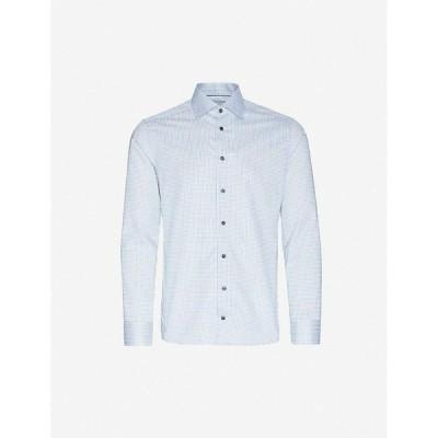 イートン ETON メンズ シャツ トップス Geometric-print slim-fit cotton shirt Blue