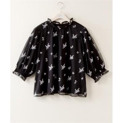 【大きいサイズ】 花柄チュール刺しゅうブラウス  plus size shirts, テレワーク, 在宅, リモート