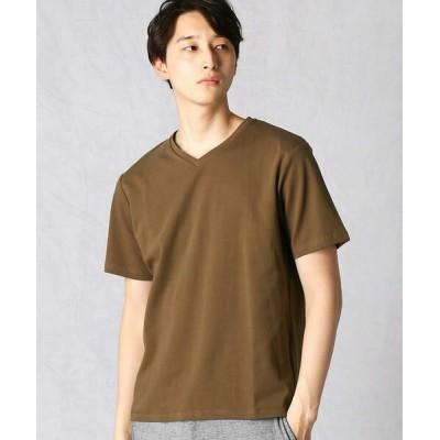 COMME CA MEN/コムサ・メン ノンステイン×ナノファイン加工 VネックTシャツ ブラウン XL