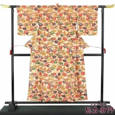 単衣 小紋 中古 正絹 裄66.5 リサイクル 着物 ベージュ 紅型風 ちりめん あすつく対応