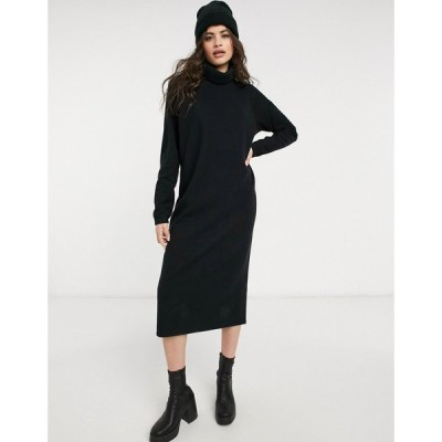エイソス ASOS DESIGN レディース ワンピース ミドル丈 ワンピース・ドレス Super Soft Exposed Seam Jumper Midi Dress With Cowl Neck In Black ブラック