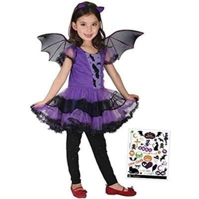 コスチューム ヴァンパイアガール4点セット ドレス+カチューシャ+ 羽根+ペイントシール S233(紫, 120cm - 130cm)