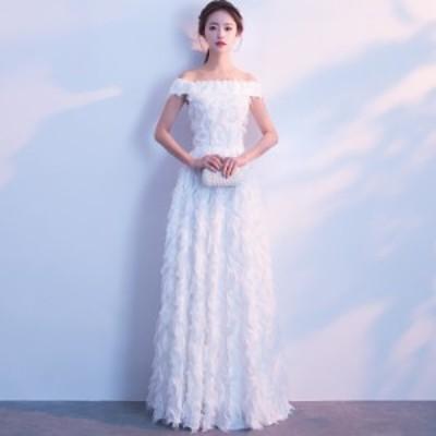 ウェディングドレス 白 二次会 花嫁 大きいサイズ 3L 小さいサイズ スレンダーライン エンパイアライン オフショルダー フェザー