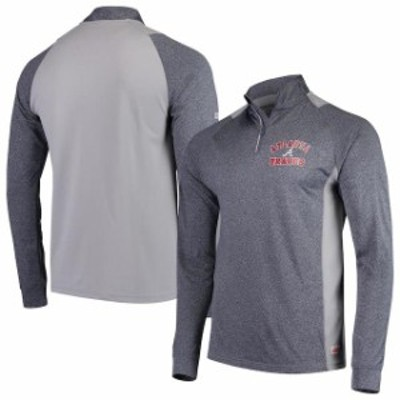 Stitches スティッチ スポーツ用品  Stitches Atlanta Braves Heathered Charcoal Team Raglan Quarter-Zip Pullover Jacket