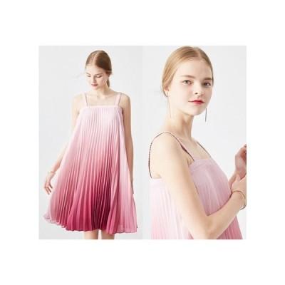 グラデーション ピンク パーティードレス プリーツスカート ひざ丈 レディース ワンピース 結婚式 二次会 お呼ばれドレス kh-0580