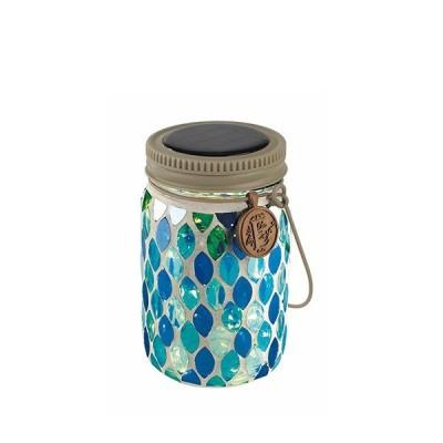 キシマ ボトル型ソーラーガーデンライト エトワル 瓶型 モザイクガラスタイプ ブルードロップ BLueDrop 屋外用 ソーラー充電 ガラス ジャー 照明 KL-10353