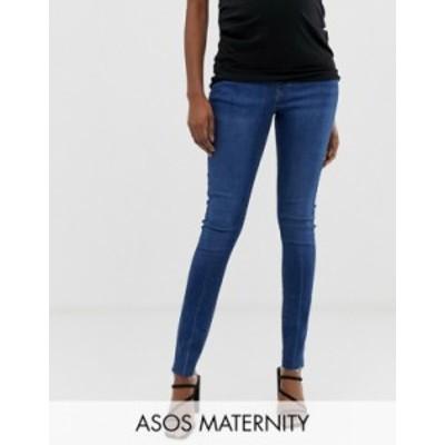 エイソス レディース デニムパンツ ボトムス ASOS DESIGN Maternity Ridley high waist skinny jeans in dark stone wash with raw hem d