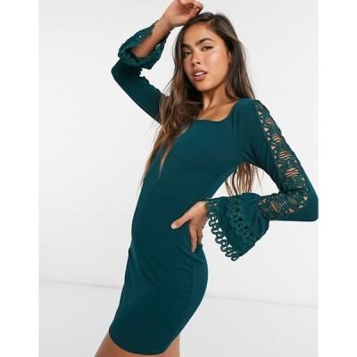 ガール イン マインド レディース ワンピース トップス Girl In Mind fluted sleeve mini dress in green