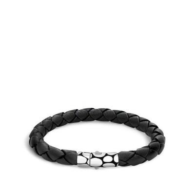 ジョン・ハーディー メンズ ブレスレット・バングル・アンクレット アクセサリー Men's Kali Silver Black Woven Leather Bracelet