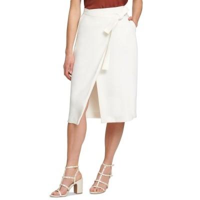 ダナ キャラン ニューヨーク スカート ボトムス レディース Faux-Wrap Skirt Ivory