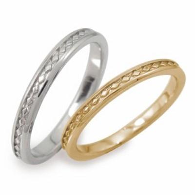 ペアリング マリッジリング 2本セット 誕生石 ホワイトゴールドイエローゴールド 10金 結婚指輪  メンズ セット価格 ひし形モチーフ
