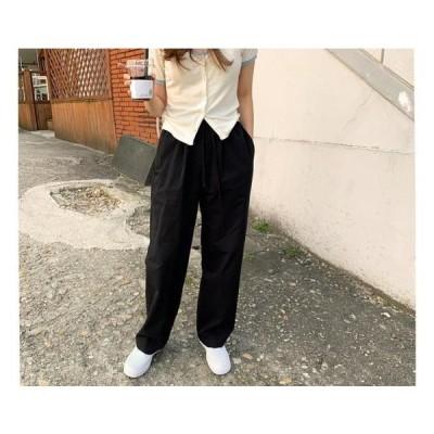 レディース パンツ Crispy pin tuck banding pants
