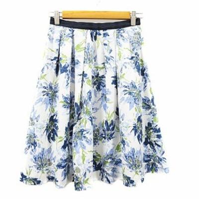 【中古】ジャスグリッティー JUSGLITTY Dress in Luxury スカート フレア ひざ丈 花柄 タック 2 白 ホワイト /AAM37