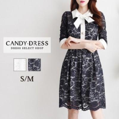 【予約】S/M 送料無料 Luxury Dress フラワーレース×バイカラー襟&リボンデザイン七分袖フレアミニドレス GC200902 キャバ キャバドレ