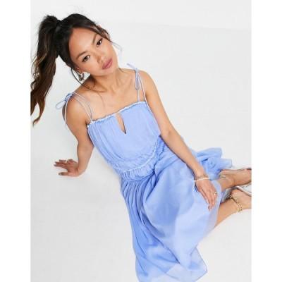 エイソス ミディドレス レディース ASOS DESIGN strappy midi dress with ruched channel detail and tie straps エイソス ASOS ブルー 青
