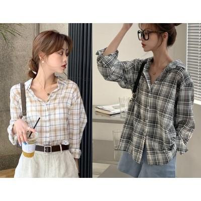 全2色 長袖シャツ 切り替え バイカラー 体型カバー 着痩せ チェック柄 シンプル sweet系