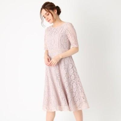 クチュールブローチ(Couture Brooch)/【ママスーツセレモニー結婚式ドレス】総フラワーレースフレアワンピース