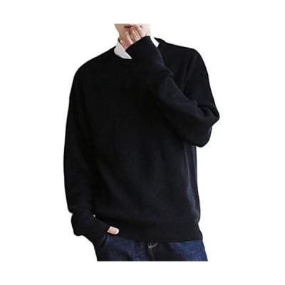 [ラッキーチャーム] (ブラック, M) ドロップショルダー ニット セーター メンズ オーバーサイズ オーバーショルダー メンズセーター オシャレ