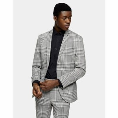 トップマン Topman メンズ スーツ・ジャケット アウター check super skinny single breasted suit jacket with notch lapels in grey グ