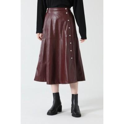 スカート フェイクレザーフレアスカート