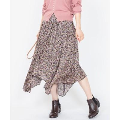 スカート 【SEE U SOON】フラワーペイズリーイレヘムスカート